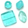 Lucite Assorted Large Beads Mix Aqua - 72 Grams